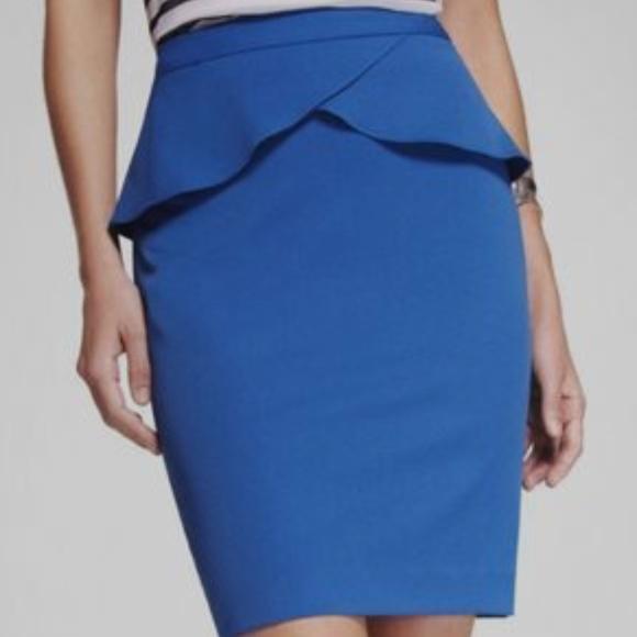 df71d470b3 Express Skirts   Peplum Pencil Skirt Blue   Poshmark